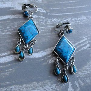 3/$20 vintage clip on turquoise/silver earrings